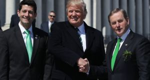 President Donald Trump, Taoiseach Enda Kenny and  House Speaker Paul Ryan  after the annual Friends of Ireland lunch in Washington. Photograph: Alex Wong/Getty Images