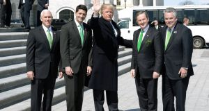 US president Donald  Trump and Taoiseach Enda Kenny, with Paul Ryan, Peter King and Mike Pence outside the US Capitol after the Friends of Ireland lunch. Photograph: Olivier Douliery