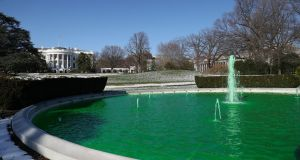 A White House fountain is dyed green for St Patrick's Day,  in Washington, DC, US. Photograph: Niall Carson/PA Wire
