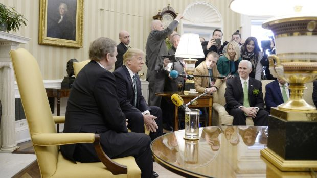 Taoiseach Enda Kenny and US president Donald Trump face a scrum of Irish reporters in the White House, March 16th, 2017.  Photograph: Olivier Douliery/Pool via Bloomberg