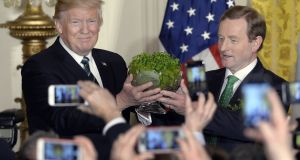 President Donald  Trump accepts a bowl of shamrock from  Taoiseach Enda Kenny  during a reception in the East Room of the White House, March 16th, 2017 in Washington, DC. Photograph: Olivier Douliery-Pool/Getty Images