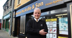 Estate agent Michael McArdle outside his office in Crossmaglen, Co Armagh. Photograph: Simon Carswell