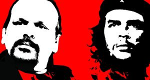 The famous poster (right) of Che Guevara created by Irish artist Jim Fitzpatrick, and an image of Camilo Guevara (left) given a similar treatment. Illustration: Paul Scott