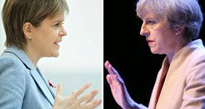 Scottish  first minister Nicola Sturgeon (left) and British prime minister Theresa May: the Scottish National Party case for staying in the single market and customs union were dismissed by May. Photograph: PA Wire