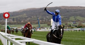 Paul Townend celebrates winning the  Albert Bartlett Novices' Hurdle on Penhill for Willie Mullins. Photograph: Andrew Boyers/Reuters
