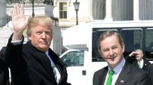 "Donald Trump and Enda Kenny: ""Kenny went to Washington and did what anyone who has ever been taoiseach would have done – and, predictably enough, he is getting monstered for it."" Photograph: Olivier Douliery/EPA"