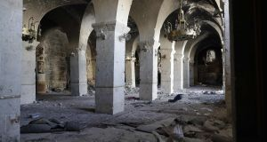 Damaged interior of the 8th century Umayyad Mosque. Photograph: Joseph Eid/AFP/Getty Images