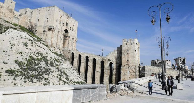 The ancient Aleppo Citadel was only lightly damaged. Photograph: Joseph Eid/AFP/Getty Images
