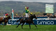 Robbie Power celebrates winning the  Timico Cheltenham Gold Cup Chase on Sizing John. Photograph:  Andrew Boyers/Reuters