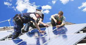 Solar panel installation:  Eurostat says Ireland is among four member states furthest from achieving renewable energy targets for 2020.