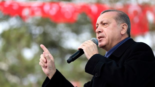 Turkey's President Recep Tayyip Erdogan: A loss in April's referendum would hurt him more than any previous election failure or shortcoming. Photograph: Murat Cetinmuhurdar/Presidential Press Service via AP)