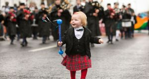 Pictured taking part in the Limerick city parade was Mairead Purcell, age 1 and a half with CBS Pipe Band Limerick. Photograph: Oisin McHugh/True Media