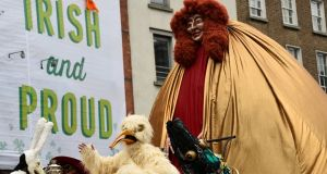 A float in the St Patrick's Day parade in Dublin, Ireland. Photograph: Clodagh Kilcoyne/Reuters