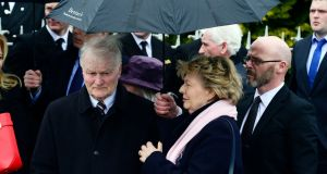 John and Mary Fitzpatrick at the the funeral of their daughter, Capt Dara Fitzpatrick at St Patrick's Church. Photograph: Cyril Byrne/The Irish Times