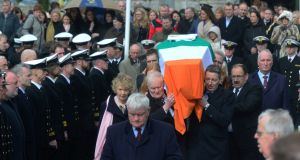 The funeral of Capt Dara Fitzpatrick Irish Coast Guard member at St Patrick's Church, Glencullen, Co Dublin. Photograph: Cyril Byrne/The Irish Times