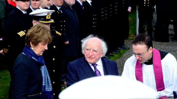 President Micheal D Higgins at the funeral of CaptDara Fitzpatrick. Photograph: Cyril Byrne/The Irish Times