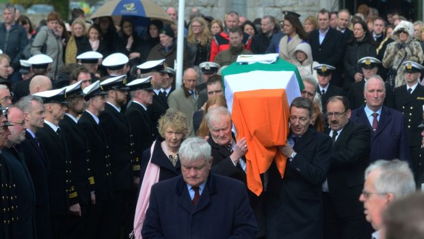 The funeral was lined, shoulder to shoulder by Coast Guard personnel. Photograph: Cyril Byrne/The Irish Times