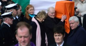 Capt Dara Fitzpatrick's fuenral was laden with poignancy for the sense of a truly valuable life cut short. Photograph: Cyril Byrne/The Irish Times