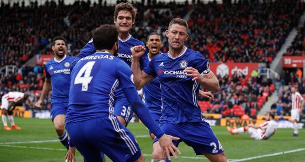 Chelsea s Gary Cahill celebrates scoring their second goal in a 2-1 Premier  League win f41305cbad8e0