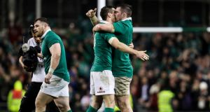 Ireland's Johnny Sexton celebrates with Peter O'Mahony after the Six Nations win over England at the Aviva Stadium. Photograph: Tommy Dickson/Inpho