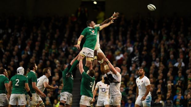 Ireland's Peter O'Mahony challenges England's Maro Itoje at the lineout during the Six Nations match at the Aviva Stadium. Photograph: Photograph: Clodagh Kilcoyne/Reuters