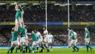 Ireland's Peter O'Mahony wins a lineout ahead of England's Maro Itoje during the Six Nations match at the Aviva Stadium. Photograph:  James Crombie/Inpho