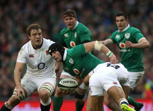 12 Robbie Henshaw Burst through Owen Farrell, great clear-outs, brilliant carrying and hard-hitting in the tackle, none more so than the crunching hit on Ben Te'o; a central, unyielding figure in shutting down England's attack. Rating: 9  (Photograph: Brian Lawless/PA Wire)