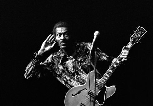 Chuck Berry, pioneer rock'n'roll guitarist, died on Saturday aged 90. Here he is performing at the Concertgebouw in Amsterdam, Netherlands on in  May 1976. Photograph:  Gijsbert Hanekroot/Redferns