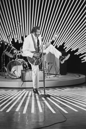 Chuck Berry performing during the taping of a segment for Omnibus in 1980, a revival of the original Omnibus ABC television show.
