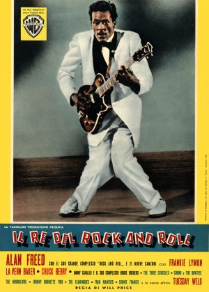 Movie poster advertises the Italian release of Alan Freed's musical 'Rock, Rock, Rock', starring Chuck Berry, 1956. Photograph: John D. Kisch/Separate Cinema Archive/Getty Images