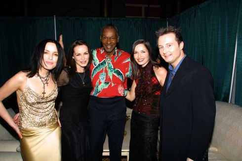 Andrea,  Sharon,  Caroline and Jim Corr of The Corrs backstage with Chuck Berry. Photograph: KMazur/WireImage