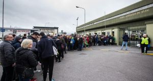 "Punters outside Austin Stack Park on Saturday evening: ""They're just early. Way early. Even the stewards haven't been let in. And still the diehards are here hours before throw-in."" Photograph: ©INPHO/Cathal Noonan"