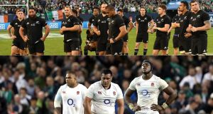 New Zealand and England players after losing their winning records to Ireland. Photographs: Inpho
