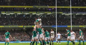 Ireland's Peter O'Mahony steals a lineout against England. Photograph: James Crombie/Inpho