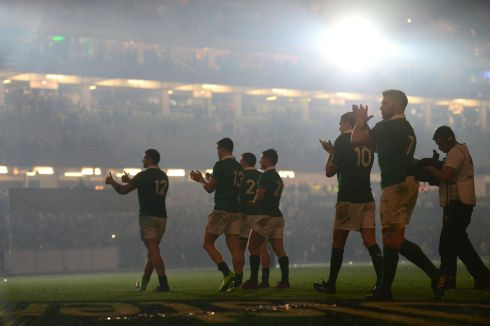 SIX NATIONS: Ireland thank the crowd following their victory over England at the Aviva Stadium, Dublin. Photograph: Dara Mac Donaill