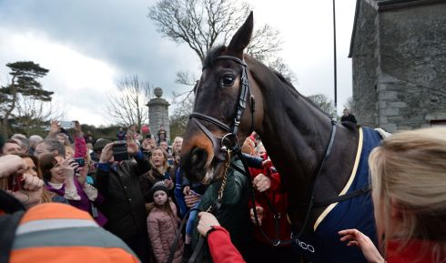 KING JOHN: Timico Gold Cup Winner Sizing John is welcomed home in Moone Village, Co Kildare. Photograph: Dara Mac Donaill