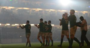 Ireland celebrate after their 13-9 victory over England at the Aviva Stadium on Saturday. Photograph: Dara Mac Dónaill