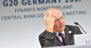 German finance minister Wolfgang Schäuble during the G20 meeting in Baden Baden. Photograph: Uwe Anspach/AP