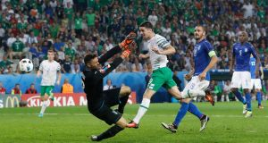 Robbie Brady scores for the Republic of Ireland against Italy at Euro 2016. It was selected by the FAI as Ireland's goal of the year. Photograph: Reuters.