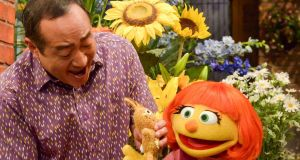 Julia, a character with autism, will make her Sesame Street debut on April 10th, on both PBS and HBO. Photograph: Zach Hyman/Sesame Workshop via AP