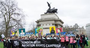 The London-Irish Abortion Rights Campaign marches for St Patrick's Day. Photographer: Meelie McKay