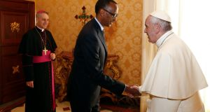 Pope Francis welcomes Rwanda's President Paul Kagame during a private audience at the Vatican, Monday, March 20th, 2017. Photograph: Tony Gentile/AP