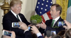 President Donald J. Trump accepts a bowl of shamrocks from The Taoiseach of Ireland Enda Kenny during a reception in the East Room of the White House on March 16, 2017 in Washington, DC. Photograph:  Olivier Douliery-Pool/Getty Images