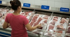 Beef in a Rio  supermarket:  Brazil has said scandal  does not mean  exported products were unsafe for human consumption. Photograph: Yasuyoshi Chiba/AFP/Getty Images