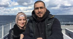 Syrian ex-activist Razan Alakraa with her husband, Ahmad Alhameed, in Portsmouth, England. Alakraa  has stopped documenting crimes for the sake of her mental health.