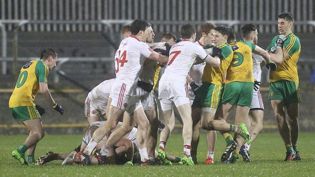 Tempers flare between Donegal and Tyrone during their Division One clash. Photo: Lorcan Doherty/Inpho