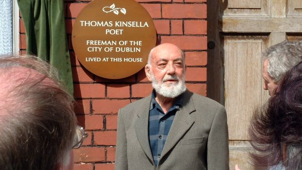 Thomas Kinsella at the unveiling of the plaque confirming him a Freeman of the City of Dublin. Photograph: Gerard Symth