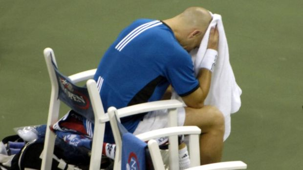 Agassi reacts after losing the 2005 US Open final 6-3, 2-6, 7-6 9(1), 6-1 to Roger Federer. Photo: Jason Nevader/Getty Images