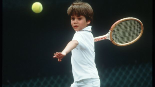 Seven-year-old Agassi plays tennis in April 1977 in Las Vegas. Photo: John Russell/Getty Images