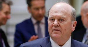 Minister for Finance Michael Noonan outlined key issues for Ireland on margins of     finance ministers meeting  on Monday. Photograph: Yves Herman/Reuters